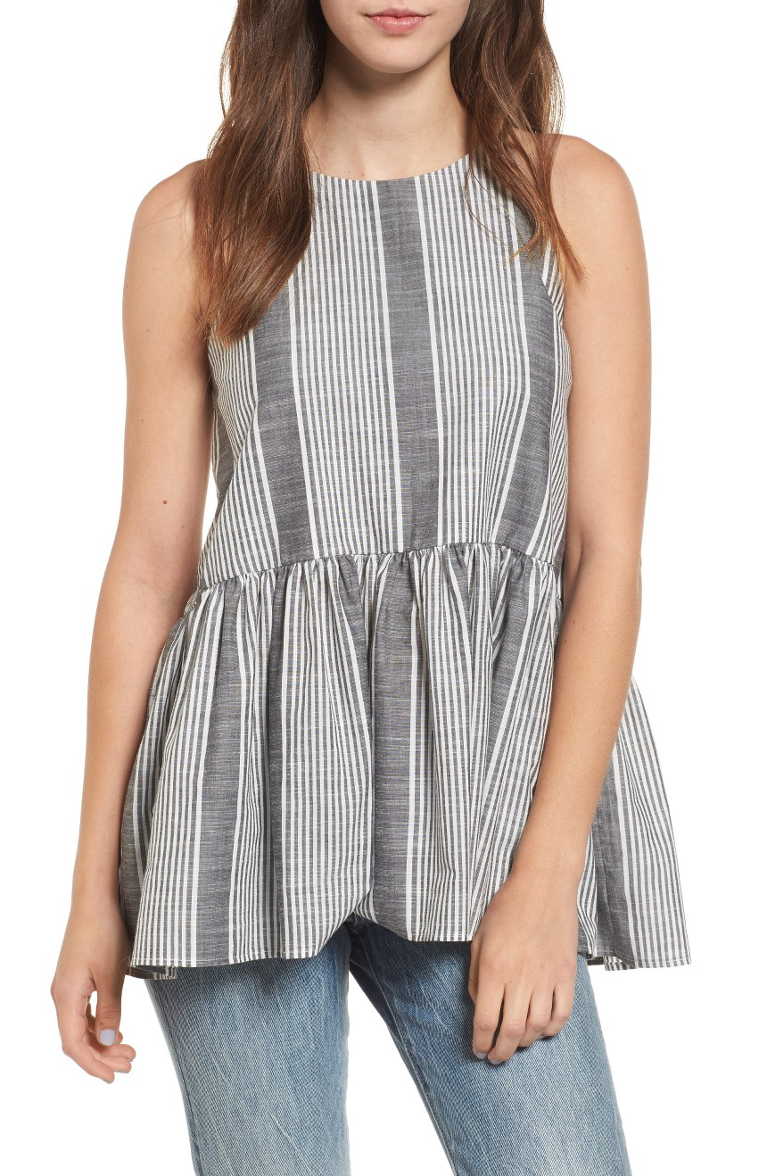 - Halter Peplum Top- Nordstrom $39 Peplum is making a come back! This striped tank is super cute and breezy for summer.