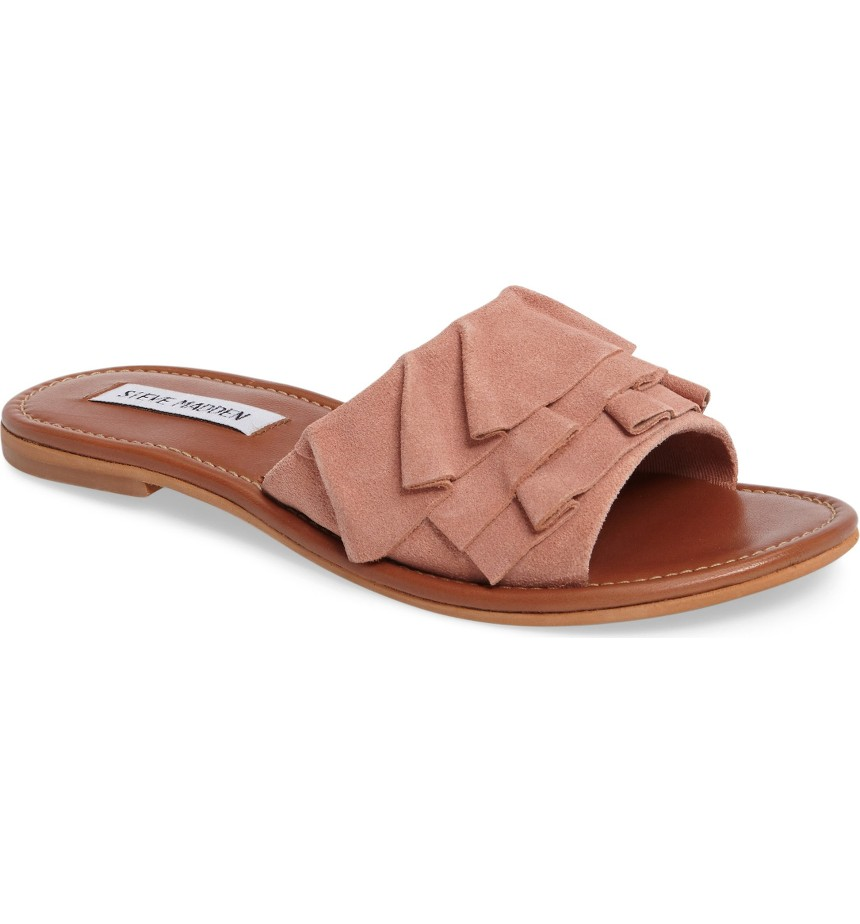 - Getdown Sandal- Steve Madden $40.16 They are on sale!! I love slides and the ruffles on them add a cute flare.