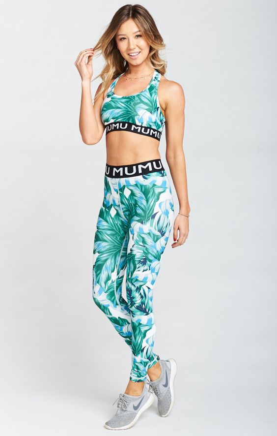 - Rozaline Logo Skinny Leggings, Pretty in Palms Firm Stretch- Show Me Your Mu Mu $118These leggings will make you want to work out!! They are perfect for the gym or just running errands.