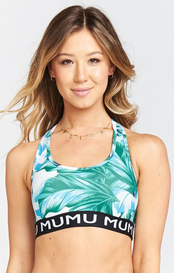 - Maya Logo Bra, Pretty in Palms Firm Stretch- Show Me Your Mu Mu $72This matching sports bra is the cutest! I love the Mu Mu border.