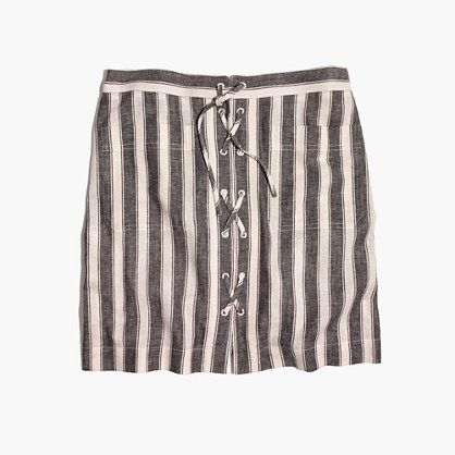 - Striped Lace- Up Skirt- Madewell $39.99I love this skirt because it combines two of my favorite trends, stripes and lace up.