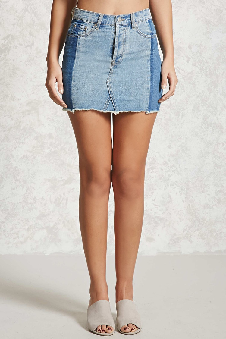 - Colorblocked Denim Mini Skirt- Forever 21 $17.90 This color blocked denim skirt is sooo trendy and adds more of a flare than just a regular jean skirt.