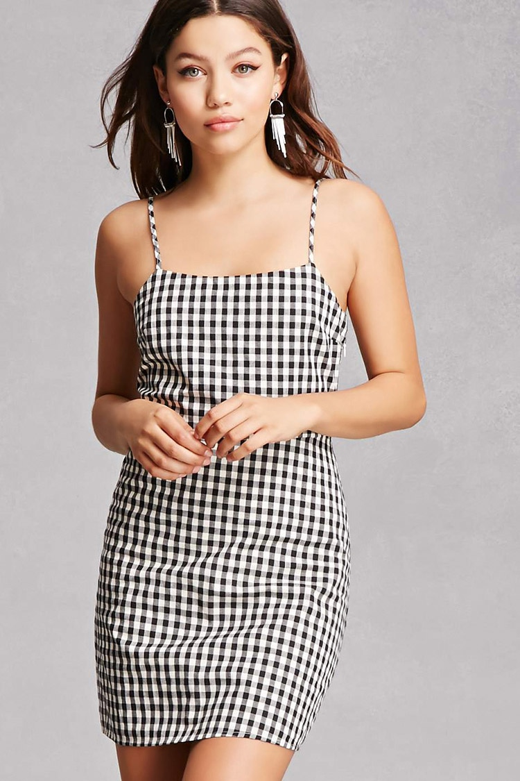 - Gingham Card Dress- Forever 21 $45 This gingham print is EVERYTHING! Gingham print is so trendy and this dress suits it.