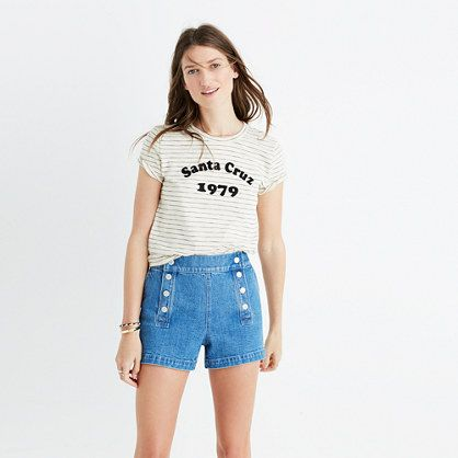 - Hi-Fi Santa Cruz 1979 Shrunken Tee- Madewell $35 This stripe tee is perfect for everyday and can be dressed up so cute!