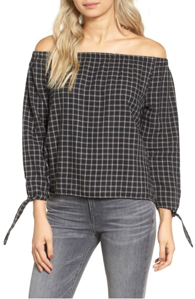 Plaid Off the Shoulder Top- Madewell - Sale: $44.90After Sale: $68.00