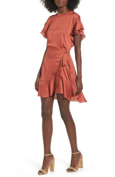 Ruffle Sleeve Satin Dress- ASTR the Label - Sale: $49.90After Sale: $75.00