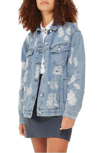 Ripped Denim Jacket- Topshop - Sale: $63.90After Sale: $95.00