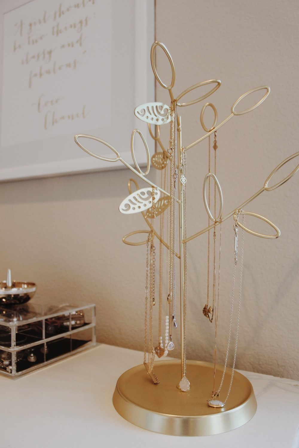 Tree branch jewelry organizer is from Home Goods!