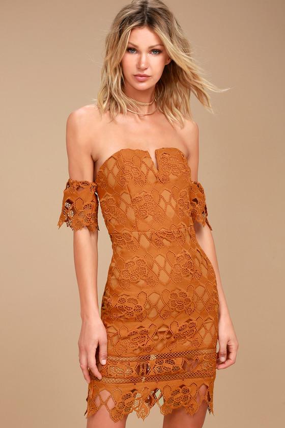 Burnt Orange Lace Off the Shoulder Dress- J.O.A. - $85.00