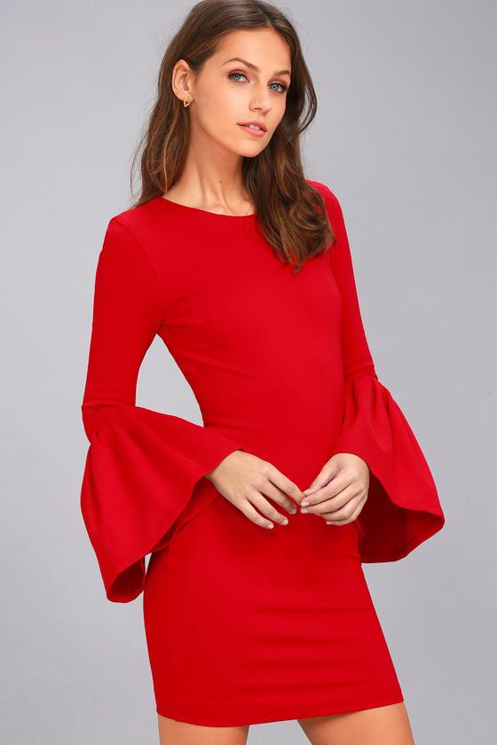 Double Flair Long Sleeve Bodycon Dress- Lulu's - $57.00