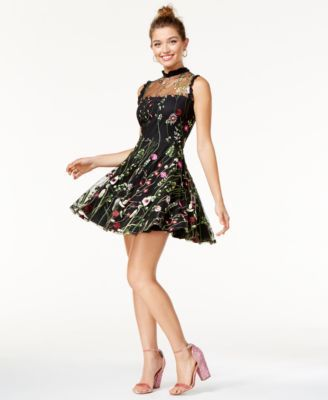 Floral Embroidered Fit & Flare Dress- Macy's - $89.00