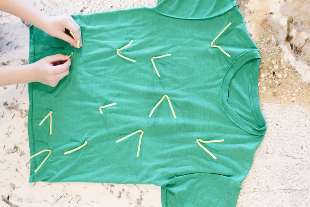 To make the cactus shirt, take yellow pipe cleaners, bend them in half and then safety pin or hot glue to a green shirt.