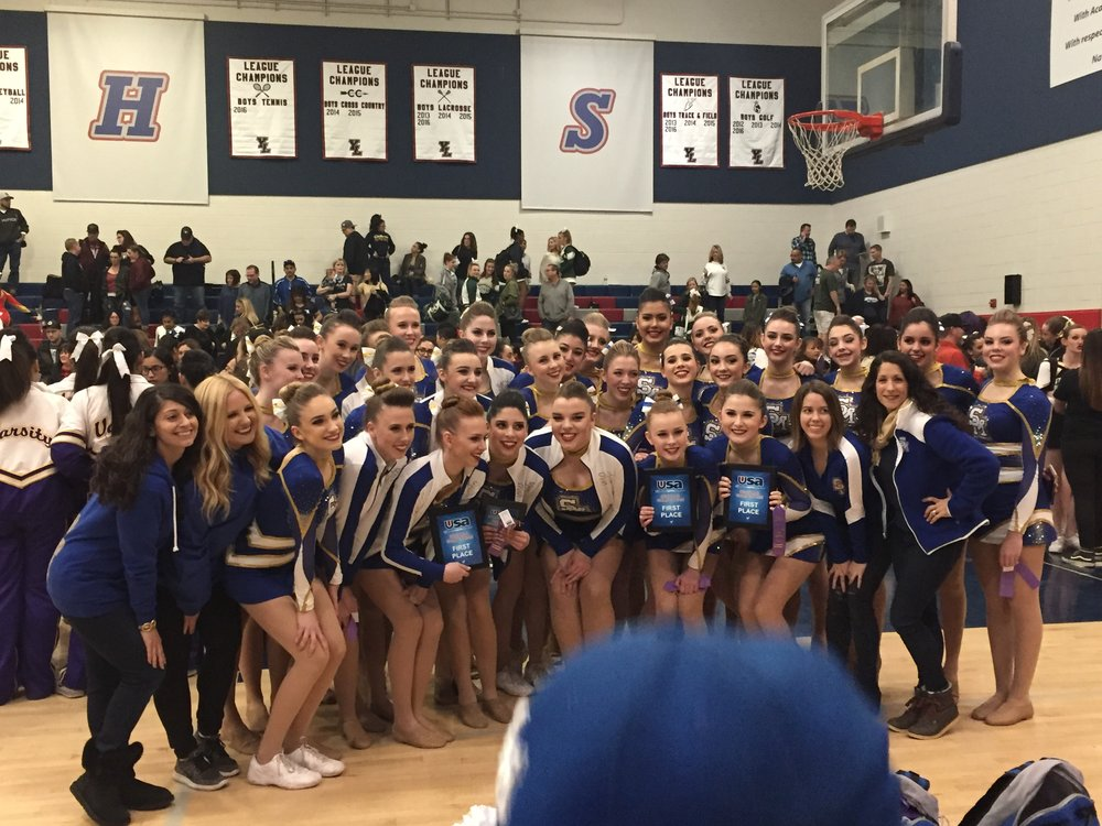 First SM competition with JV song. First place for pom and jazz.