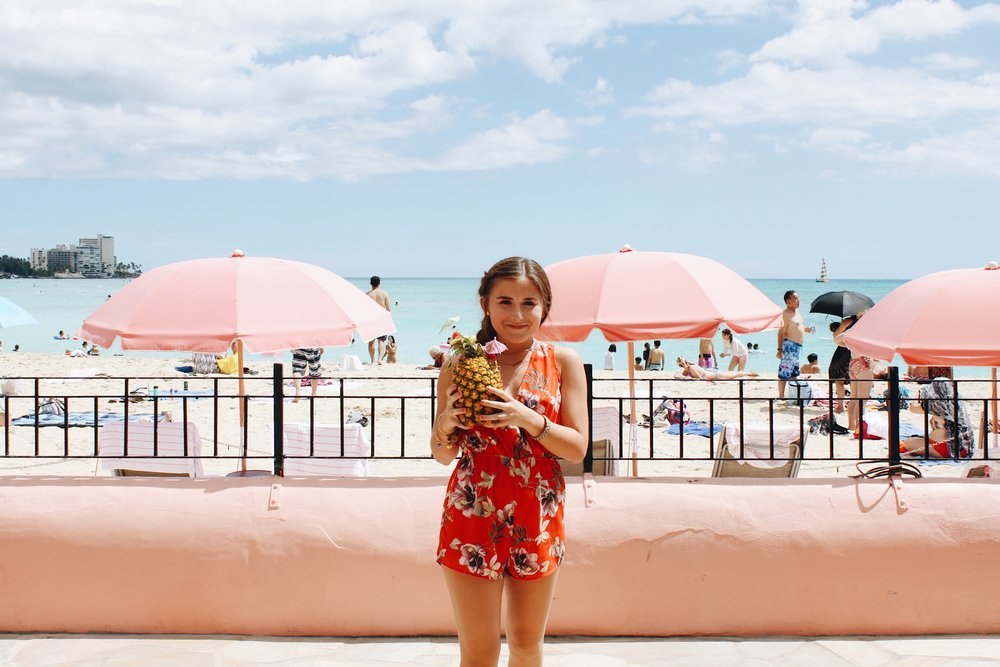 "At the Royal Hawaiian Hotel known as the ""pink hotel"""