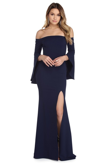 Jenny Navy Off The Shoulder Crepe Dress - $59.90