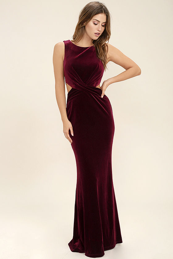 Reach Out Burgundy Velvet Maxi Dress - $94