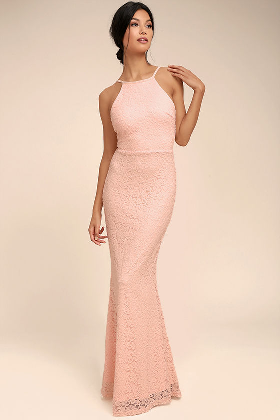 Ephemeral Allure Peach Lace Maxi Dress - $89