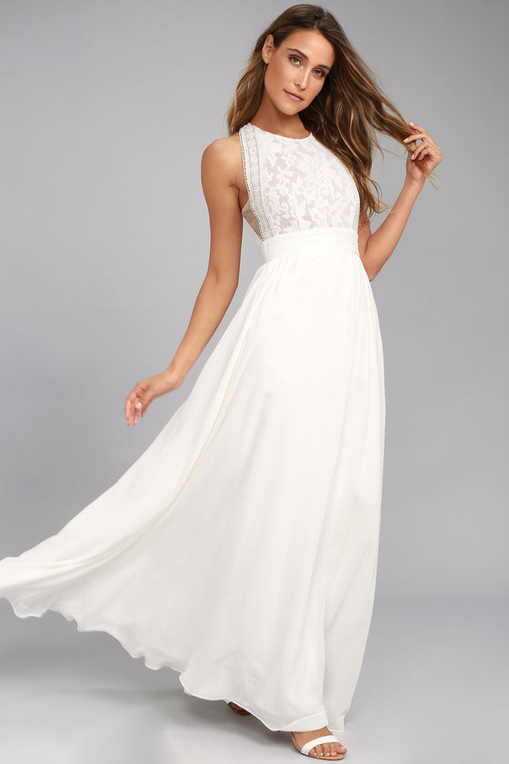 Forever and Always White Lace Maxi Dress - $89