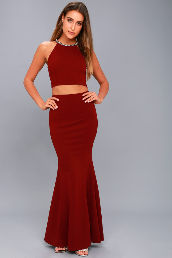 Shining Example Wine Red Rhinestone Two- Piece Maxi Dress - $22