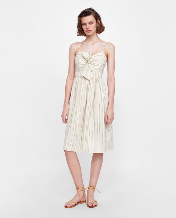 Striped Dress With Knot - $49.90
