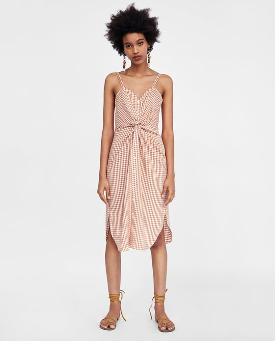 Checked Dress with Knot Detail - $69.90