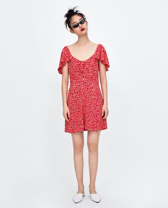 Floral Print Dress with Bow - $49.90