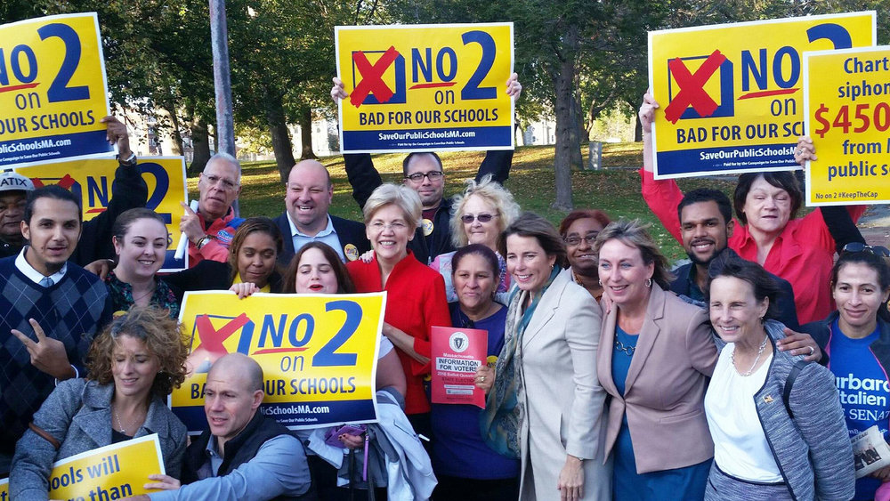 No on 2 organizers with Senator Elizabeth Warren and Attorney General Maura Healey in 2016.