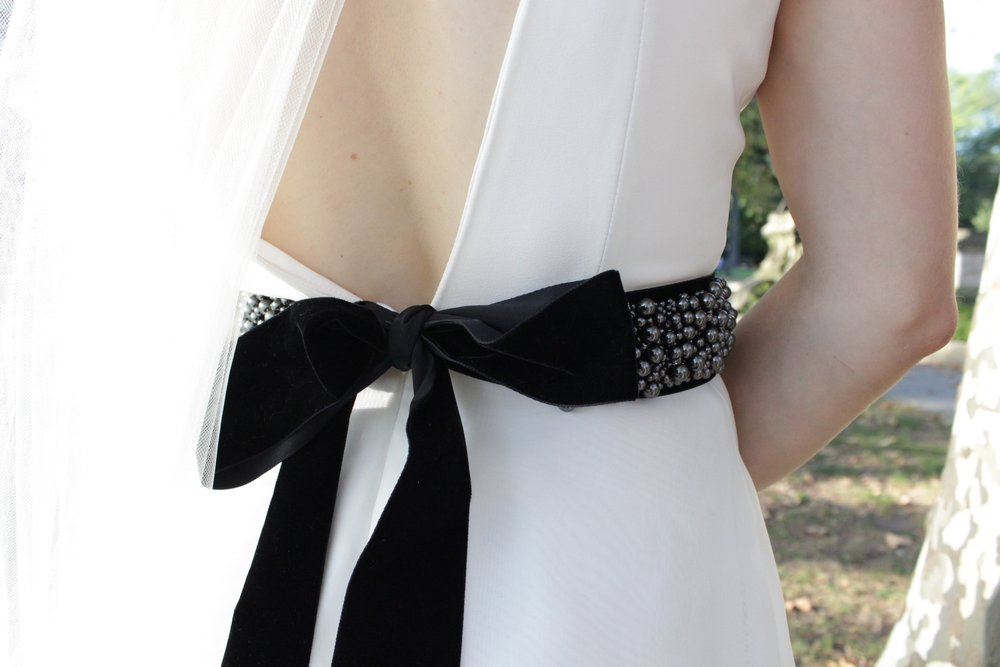 Belts - Hand beaded belts are a great accent for any bride. All belts are unique pieces and are sold on a first come basis. We recommend mounting them on our silk ribbon.