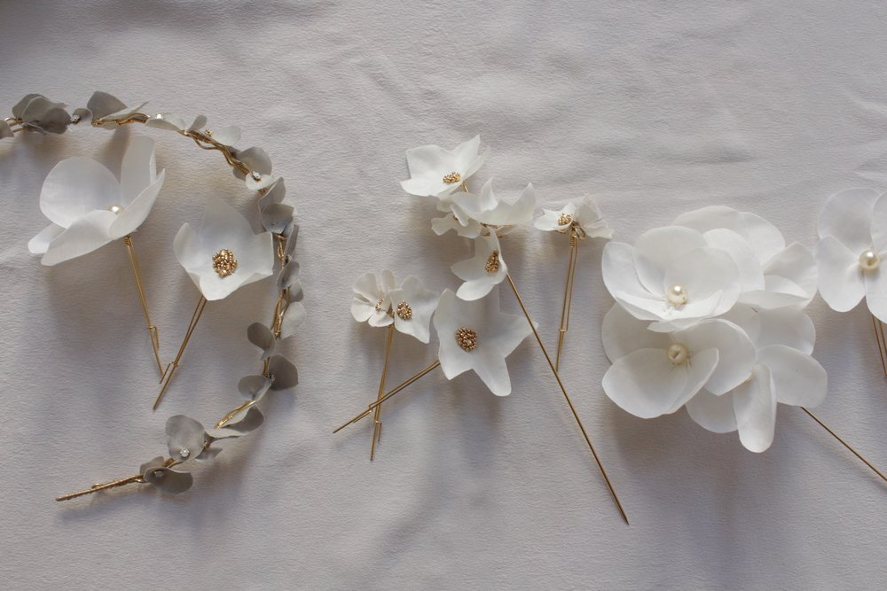 Hairpieces - Inspired by botanicals, our hairpieces are handcrafted for a regal, floral touch.