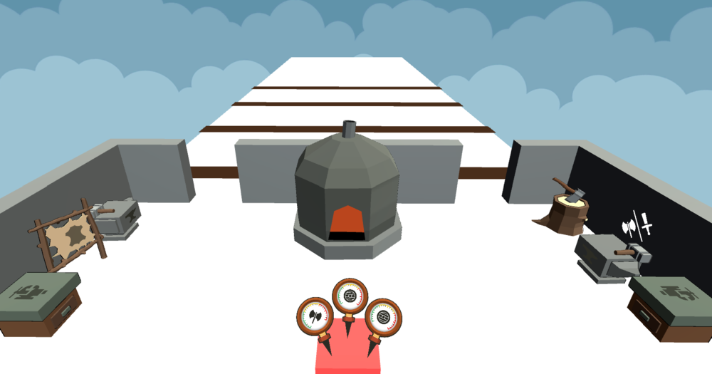 First Pass - The fist pass of this level was a narrow runway layout with the forge in the foreground.Players deliver weapons to their allies inside of the forge and the level provides no direction for the players.