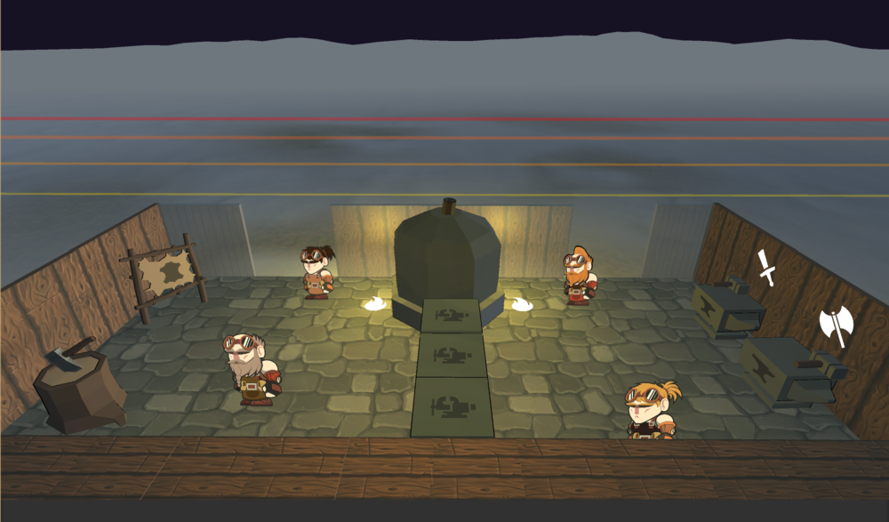 Final Pass - The level is now visually split down the middle. Although the level can be fully traversed by all players, the layout suggests the players divide forces and split tasks, which ultimately prepares them for later levels.The players now deliver the weapons to the army line on the battlefield instead of in the forge to stay consistent with the narrative and game-play concept.
