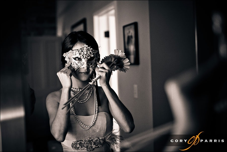 bride wearing mask by seattle wedding photojournalist cory parris