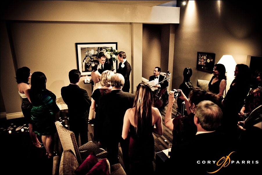 inside the suite at the Alexis hotel by seattle wedding photographer cory parris