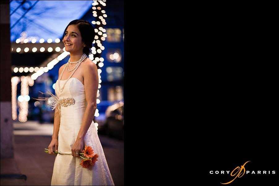 bride standing in the street on a winter night by seattle wedding photographer cory parris