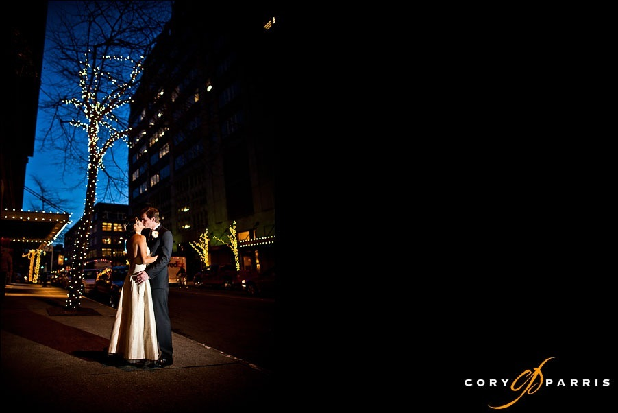 night portrait of bride and groom kissing by seattle wedding photographer cory parris