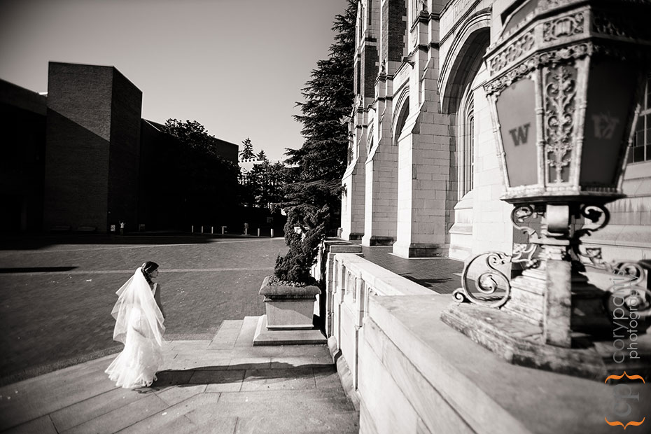 Bride walking across the University of Washington campus