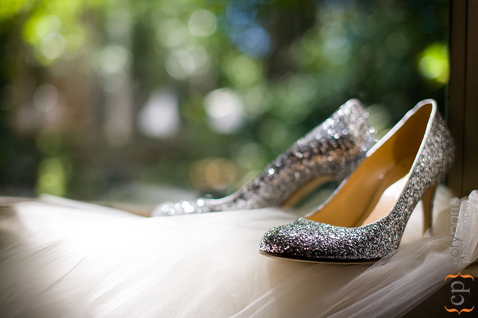 Christena's silver wedding shoes and veil. This image by my fabulous daughter, Alyssa Parris