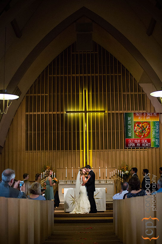 The beautiful interior of University Lutheran during the wedding ceremony