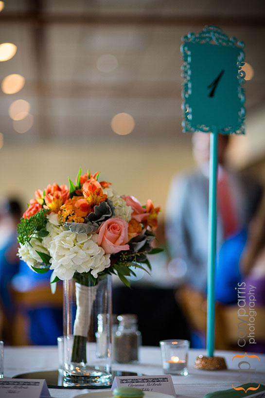 vintage style centerpieces in turquoise and orange