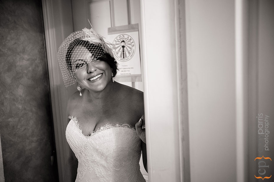 bride in her bird cage veil
