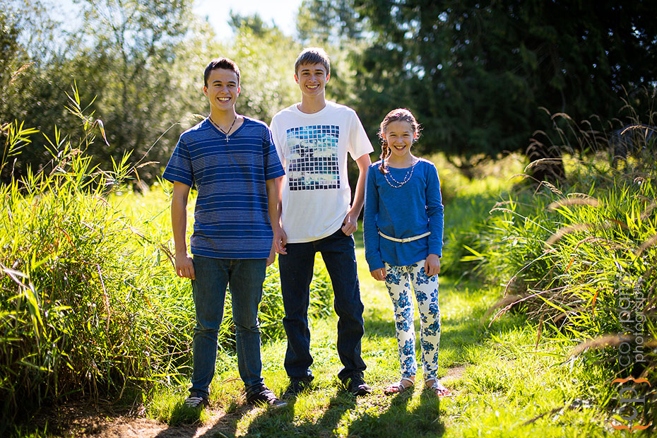portrait of three kids in woodinville