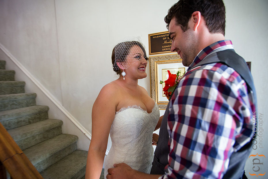 bride and groom seeing each other for the first time at the Beacon Hill Garden House