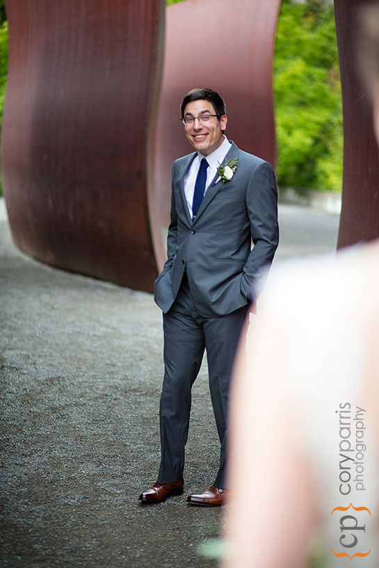 Groom seeing the bride for the first look at the Olympic Sculpture Park