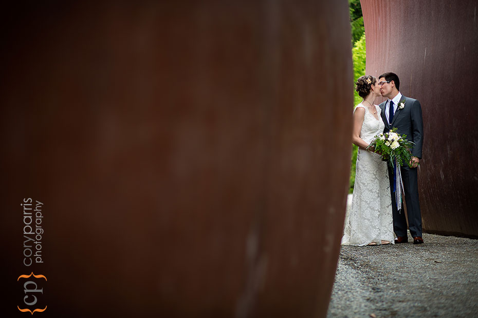 bride and groom portrait at the Olympic Sculpture Park