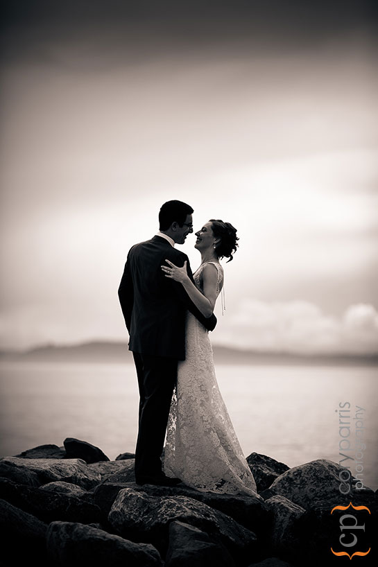 Bride and groom portrait on the Seattle waterfront