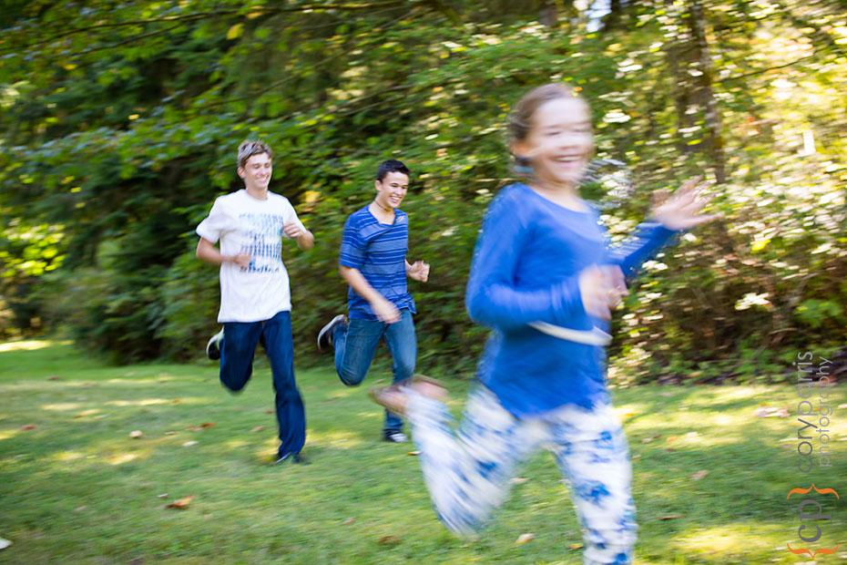 three kids running