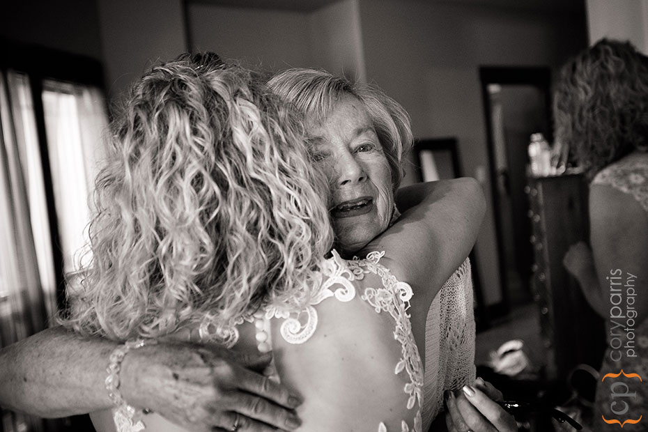 hugging before wedding