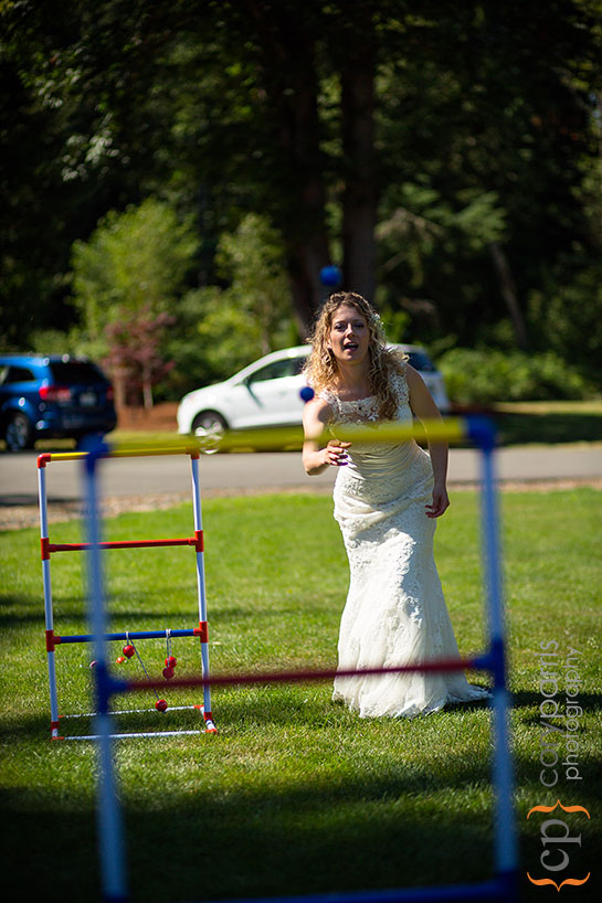 bride playing yard games