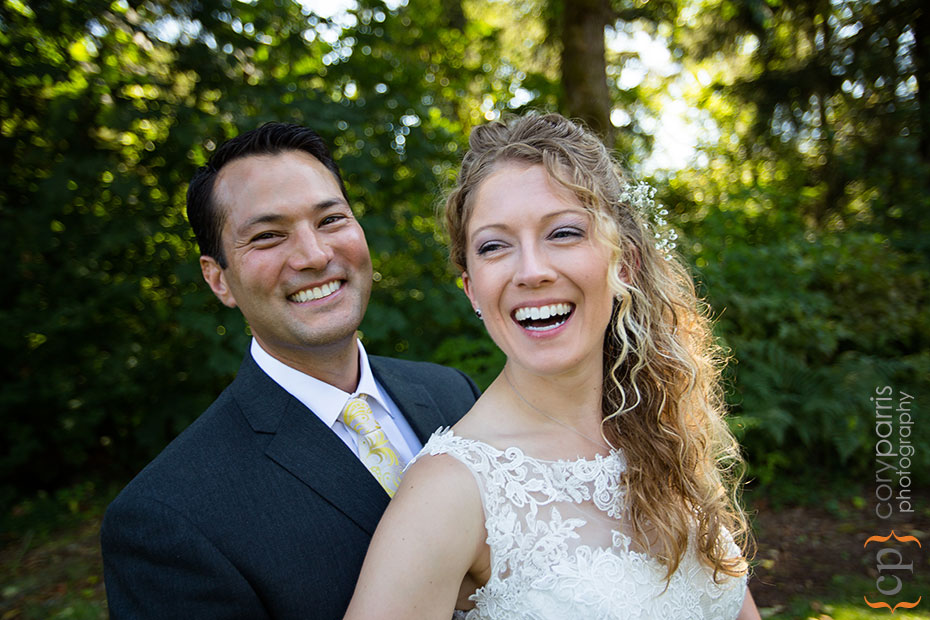wedding couple laughing during portraits