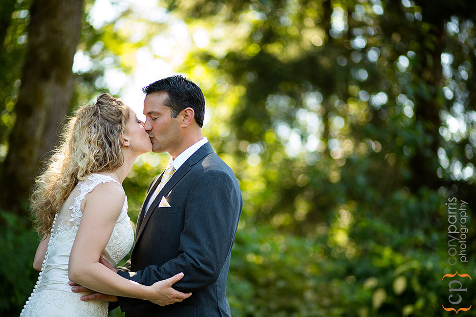 wedding portrait with evergreen trees seattle